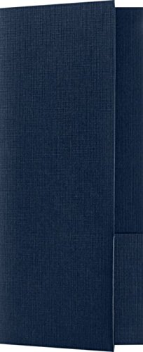 4 x 9 Mini Folders - Two Pockets - Dark Blue Linen - Pack of 25 | Perfect for Smaller pamphlets, Stepped Inserts and More! | MF-4801-DDBLU100-25