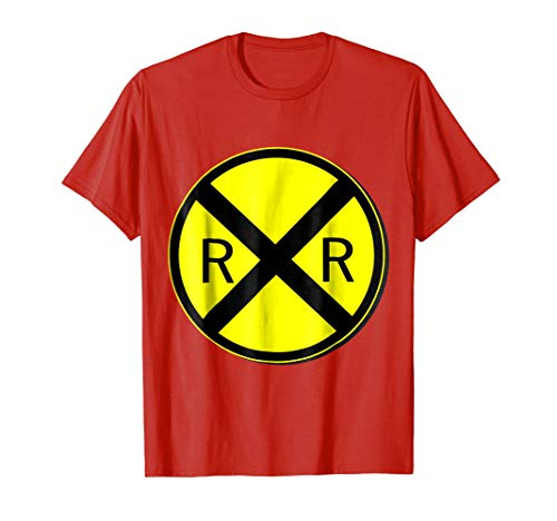 Mens Railroad Crossing Sign Simple Easy Halloween Costume T-Shirt 2XL Red ()