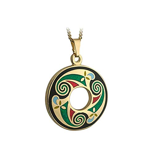 Biddy Murphy Celtic Necklace Black Book of Kells Gold Plated & Colored Enamel Irish Made
