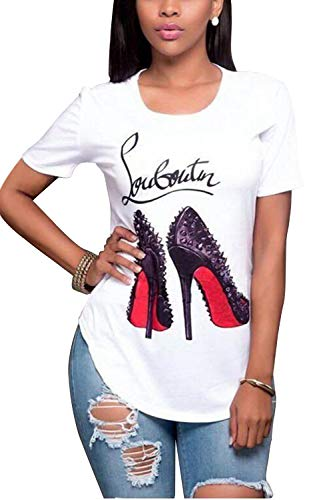 (Jumojufol Woman's T Shirts Spiked High Heel Print Pullover Casual Tops Tee White XL)
