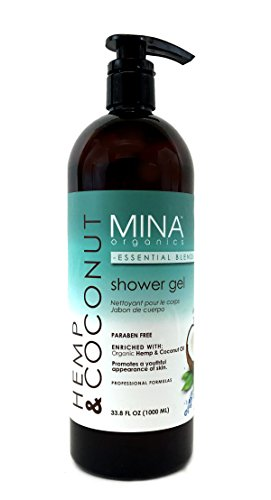 Hemp & Coconut Oil Shower Gel 33.5 ounce Liter (Paraben FREE) with Pump by Mina Organics. Factory Fresh!