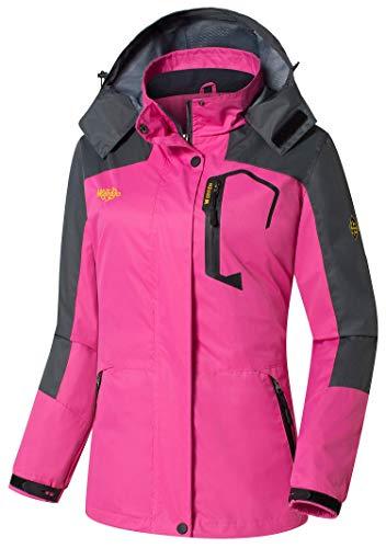 (Wantdo Women's Insulated Jacket Waterproof Raincoat Climbing Running Rose Red)
