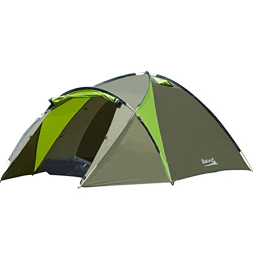 Makino 2 3 Person Tent 3 Seasons Camping Tent Hiking Easy Setup Lightweight - Hand Carrying Bag Waterproof Polyester Fabric (Green)