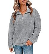 BTFBM Women's Sweatshirts Casual Zip Up V Neck Lapel Collar Cozy Long Sleeve Solid Color Loose Pu...