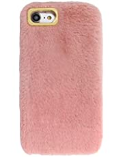 Herzzer Plush Case for Samsung Galaxy Note 20 Ultra,Warm Winter Cute Short Fluffy Furry Faux Fur Fabric Girly Flexible Soft Silicone Shockproof Back Cover,Pink