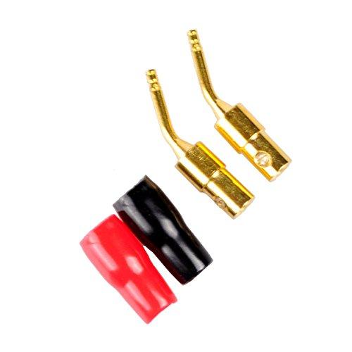 (Conwork 2-Pair 2mm Banana Plug Screw Type Audio Speaker Cable Connector Copper Gold)