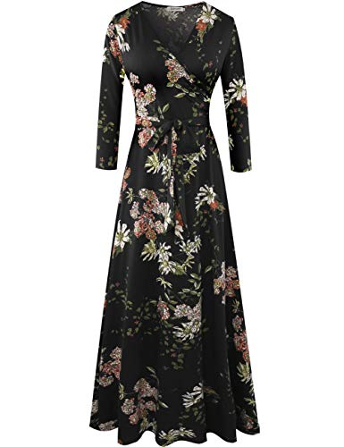 Aphratti Women's 3/4 Sleeve Faux Wrap V Neck Floral Vintage Long Maxi Dress Small Floral-Black