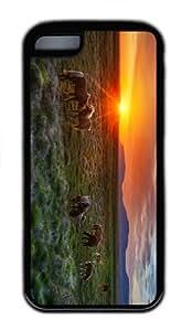 underwater cover wild horses sunset TPU Black Case for iphone 5C