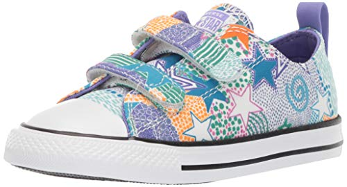 Converse Girls Infant Chuck Taylor All Star Street 2V Mosaic Low Top Sneaker, White/Wild Lilac/Black, 3 M US