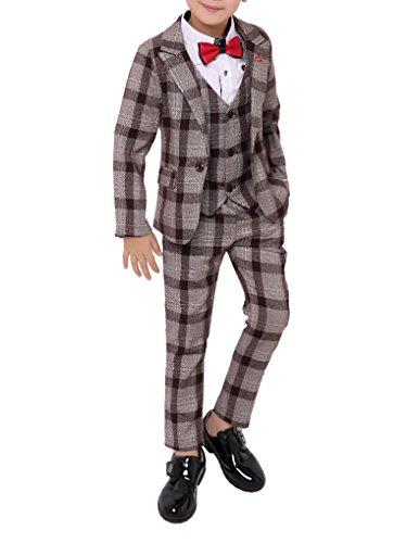 Boys Black Red Green 3 Colors Plaid Suit 3 Pieces Jacket Vest Pants Size 2T - 10 (2T, Coffee)