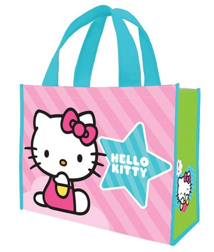 - Vandor 18673 Hello Kitty Stripes Large Recycled Shopper Tote, Pink
