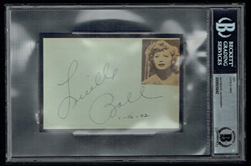 Lucille Ball (d. 1989) signed autograph auto 3.5×5 cut I Love Lucy BAS Slabbed