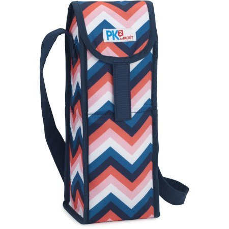 PackIt Freezable Wine Knap Sack for Picnics or as a Gift Bag - Keep Wine Bottles Cold - Zig Zag Design