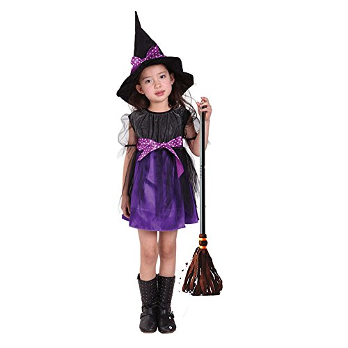 [Girls Witch Costume Halloween Dress - Toddler Cosplay Skirt Cloth for Party by Hanmun(Purple) (S)] (Make Broom Costume)