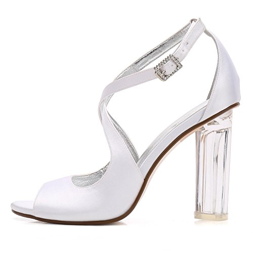 Peep 4 L F2615 Wedding Crystal High Shoes YC Platform Heels Red Bridal Satin Toe Shoes Women x8rXqU8