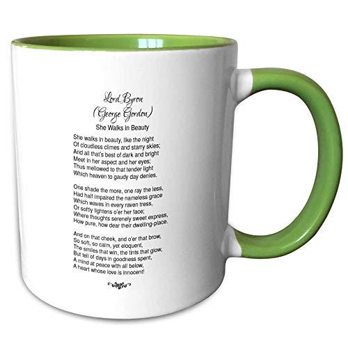3dRose Alexis Design - Poetry - Lord Byron George Gordon She Walks in Beauty like the night - 15oz Two-Tone Green Mug ()