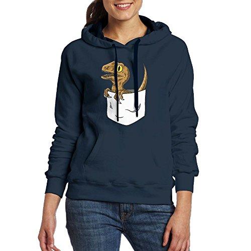 Nice Cute Pocket Raptor Womens Geek Long Sleeve Hoodie With Kangaroo Pocket