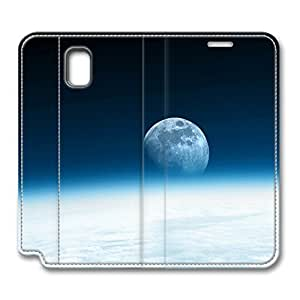 Note 3 Case, Galaxy Note 3 Flip Case, Fashion PU Leather Folio Custom Cosmos Moon Sky Protective Case Cover for Samsung Galaxy Note 3