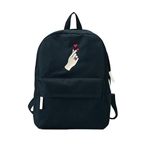 Price comparison product image Women Handbag, Hunzed Canvas Embroidery Flowers Crossbody Shoulder Bag Casual School Bag Travel Backpack Bag (Black B)