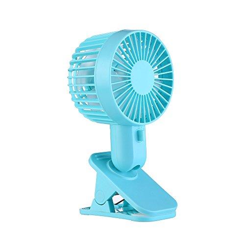Battery Operated Clip on Stroller Fan, Mini Protable Double Turn Leaves Fan USB Table Stand Fan 2-Speed Wind Blue