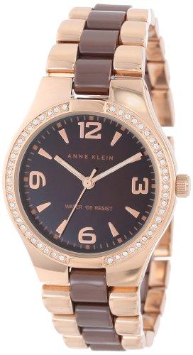 Anne Klein Women's 109118BMRG Ceramic Rosegold-Tone Swarovski Crystal Accented Brown Dress Watch