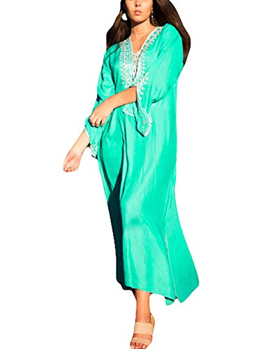 Bsubseach Women Green Embroidery V Neck Long Sleeve Swimsuit Cover Up Side Split Beach Long Maxi Dress