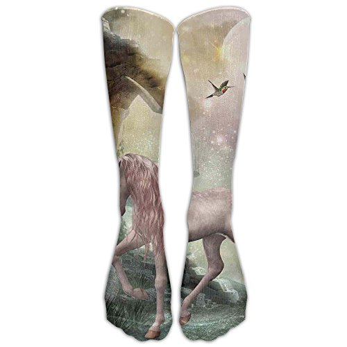 Last Unicorn Golden Leaves Birds Twinkling Stars Moon Mystic Fantasy Fairytale Training Socks (Womens Mystic Training)