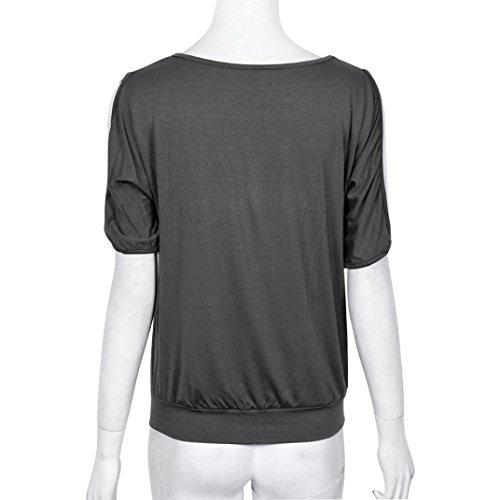 OverDose Las mujeres Off pluma del hombro manga corta blusa superior del puente camiseta de la camisa Gris