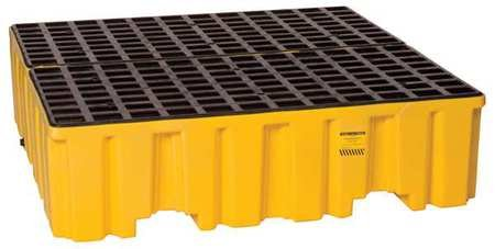 Eagle 1640 4 Drum Containment Spill Pallet, 8000 lbs Capacity, 52-51/128'' Length x 51-1/2'' Width x 13-3/4'' Height (5-(Pack))