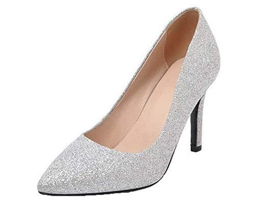 Chaussures GMBDB011561 AgooLar Tissu Argent Légeres à Fermeture d'orteil Femme Paillette qATxSY