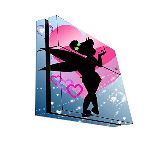 Cute Fairy Silhouette with Pink Hearts Kiss Design Print Image Playstation 4 PS4 Console Vinyl Decal Sticker Skin by Trendy Accessories