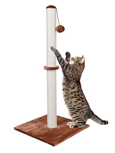 Dimaka 37″ Tall Ultimate Cat Scratching Post, Claw Scratcher with Sisal Rope and Covered with Soft Smooth Plush, Vertical Scratch [Full Strectch], Modern Stable Design 37 Inches Height (Light Brown) For Sale