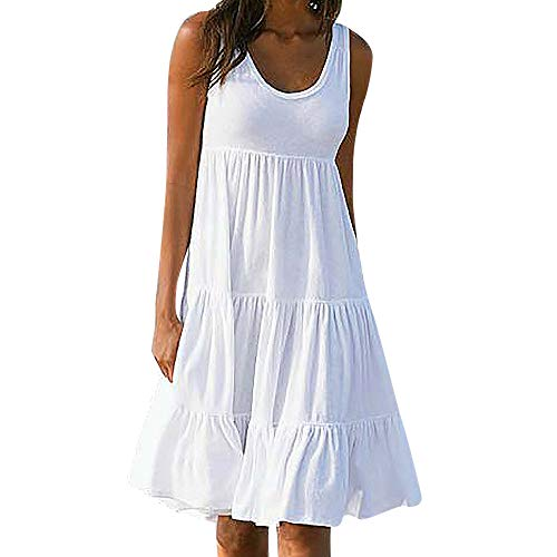 iLUGU Women Summer Casual T Shirt Dresses Beach Cover up Plain Pleated Tank Dress