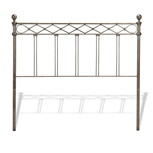 Spindle Style Metal Bed - Fashion Bed Group Argyle Metal Headboard Panel with Diamond Pattern Top Rail and Double Spindle Castings, Copper Chrome Finish, Full