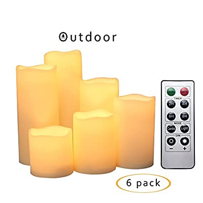 "Outdoor Flameless LED Candles with Remote & Timer - Waterproof Plastic Realistic Flickering Battery Operated LED Pillar Candles by iZan Long Battery Life 3""x3""/4""/5""/6""/7""/8"" Waved Edge 6-Pack"