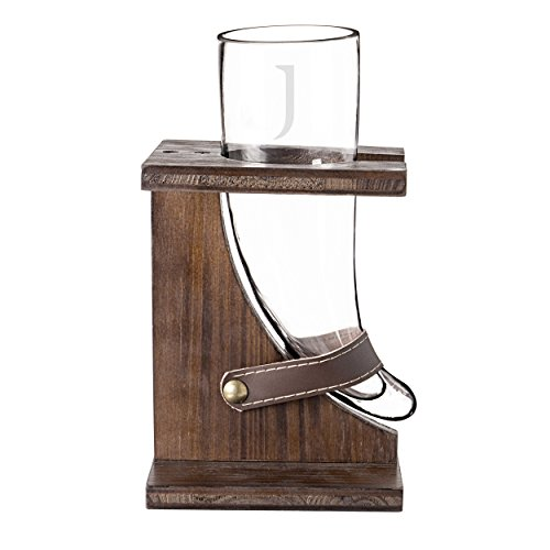 Cathy's Concepts Personalized Glass Viking Beer Horn with Rustic Stand, Letter J
