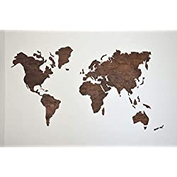 Wood World Map Wooden with country names capitals educational cities white planes push pins Large Travel Wall Wedding gift for couple Childrens room decor Office Living room Enjoy The Wood Original