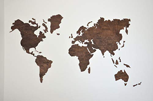 Wood World Map Wall Art Sticker Decor for Home And Kitchen Decorative Map Gift Idea for Fathers Birthday Wooden Engraved Personalized Gift Idea on Thanksgiving Standard -