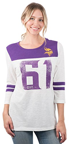 - Icer Brands NFL Minnesota Vikings Women's T-Shirt Vintage 3/4 Long Sleeve Tee Shirt, Small, White