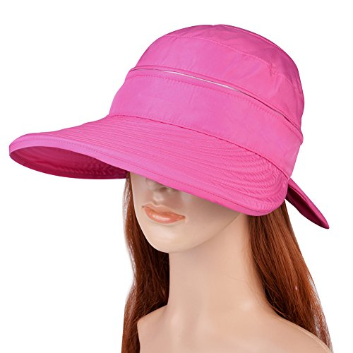 Vbiger Visor Hats Wide Brim Cap UV Protection Summer Sun Hats For Women (Rosy Red)