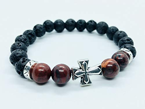 (Red Brecciated Jasper with Black Lava 8mm stone Beaded Bracelet with Silver Cross gemstone bracelet, beaded bracelets, gift bracelet)