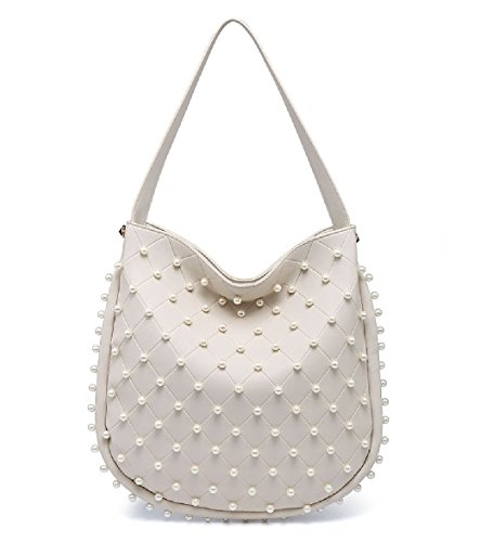 Slouch Women's EAMUK Ladies Handbag Handbag Bag Pearl Studded Tote Beige Designer Shoulder Bucket M7763 q6FqAx