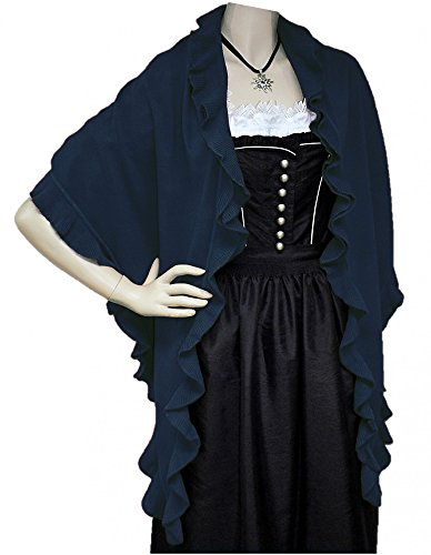 Trachtentuch Cape Poncho Umhang Stola Schultertuch Tuch Strickponcho Tracht, Farbe:dunkelblau