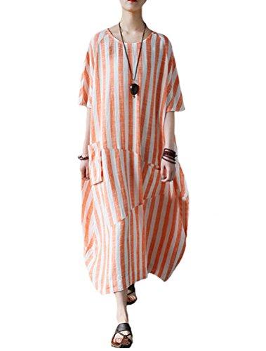 Mordenmiss Women's Cotton Linen Dress Stripes Plus Size Dresses Style 2 M Orange