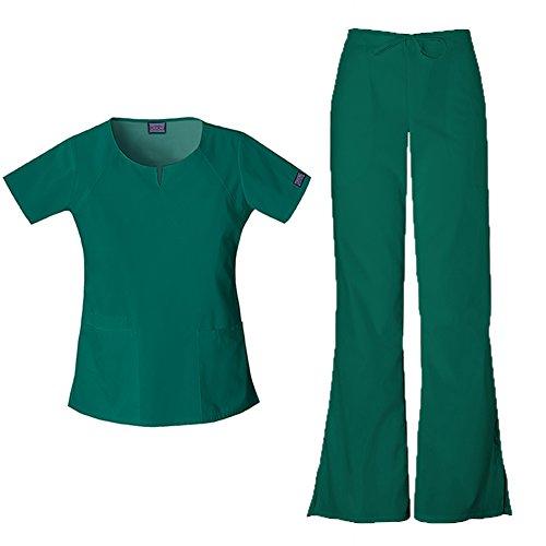 Cherokee Workwear Originals Women's Scrub Set - 4824 Round Neck Top & 4101 Natural Rise Flare Leg Drawstring Pant, Hunter, X-Small (4101 Cherokee Scrub Pants Hunter)