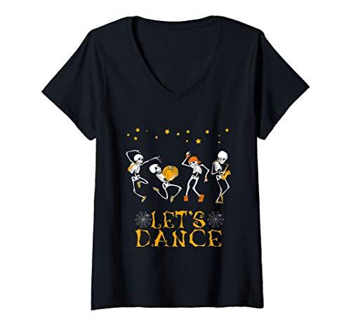 Womens Skeleton Dancing Let's Dance Halloween Costume Funny Gifts V-Neck T-Shirt