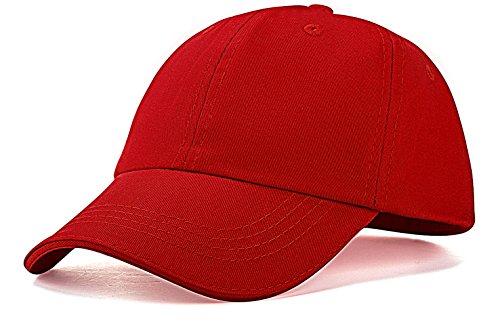 Red Hats Baseball Hat - IZUS Unisex Kids Baseball Cap Hat Plain Washed Low Profile Cotton (Red)