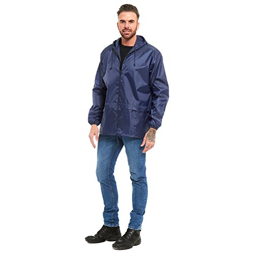 Waterproof Mens Summer Plain MyShoeStore Pack Lightweight Jacket Blue Kagool Windbreaker Kagoul Size Hooded Mac Raincoat Outdoor Top Unisex Ladies S Proof Casual Shower Womens 6XL Cagoule Festival Navy Away II0q8