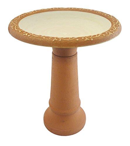 - Tierra Garden 4-1764 Fiber Clay Bird Bath with Ivory Semi-Gloss Bowl, Orange Matte Rim and Orange Matte Base
