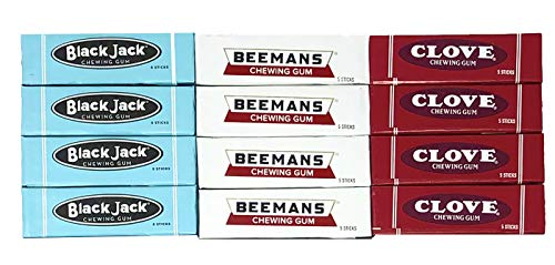 - Retro Chewing Gum Pack - Black Jack, Beemans, and Clove Gum Variety Pack of 12 with Tru Inertia Chip Clip